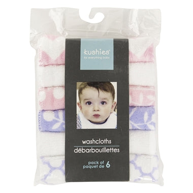 Kushies Wash Cloths 6pk Single Play Girl