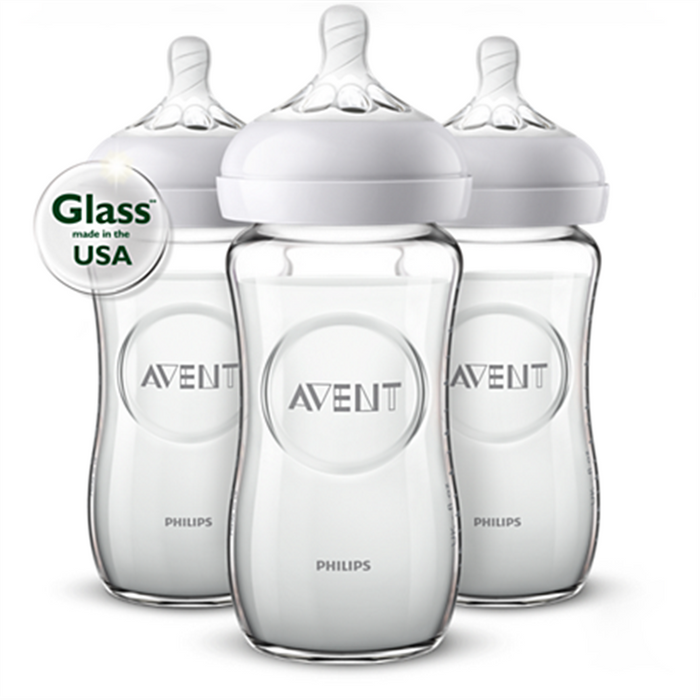 Avent Nature Glass Bottle 8oz 3pk