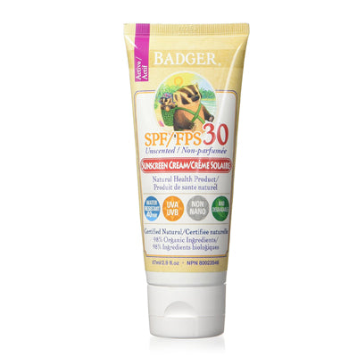 Badger Balms SPF 30 Sunscreen CREAM 87ml - Unscented