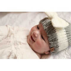 Bedford Road Knitted Hat With Bow Grey - CanaBee Baby