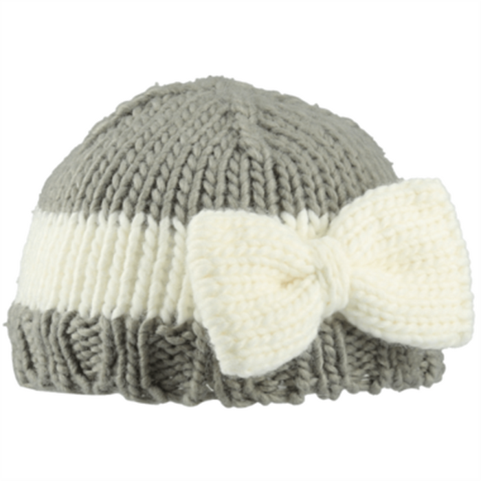 Bedford Road Knitted Hat With Bow Grey — CanaBee Baby f1d8cea9db7