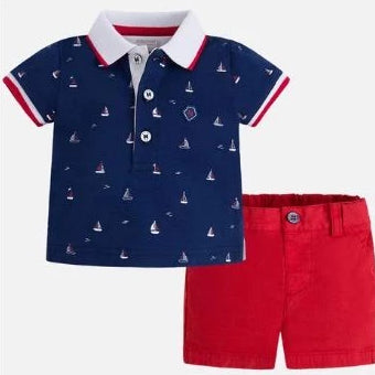 Mayoral Short and Polo Navy-Red