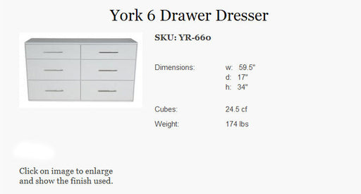 College Woodwork 6 Drawer Dresser in Java YR-660-JAV