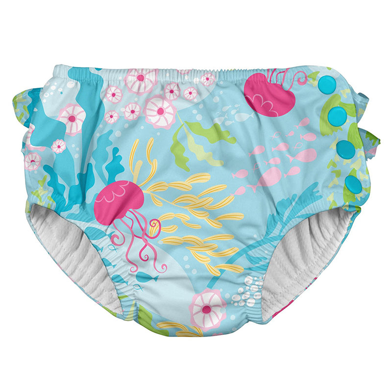 I Play Ruffle Snap Swimsuit Diaper Aqua Coral Reef