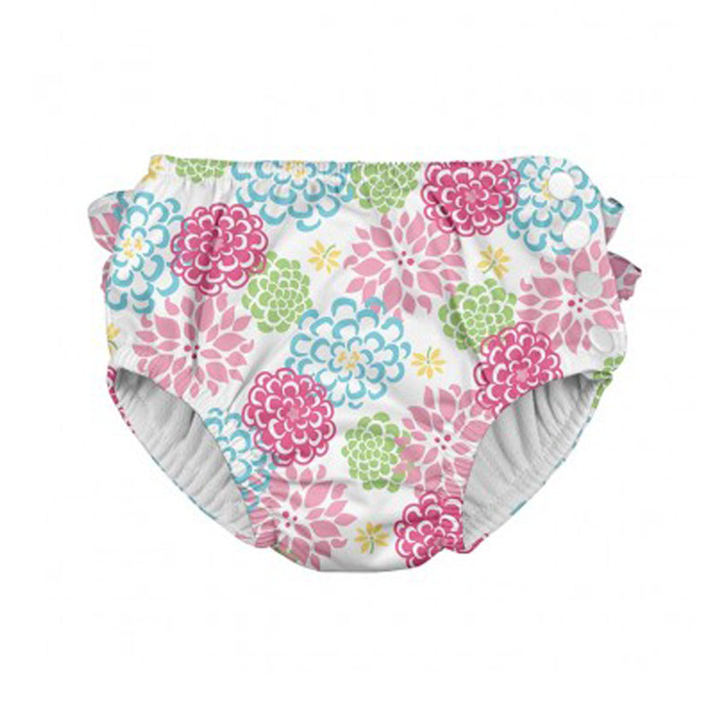 I Play Ruffle Snap Swimsuit Diaper White Zinnia