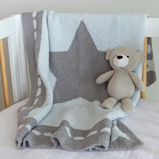 Living Textiles Cozy Baby Blanket - Blue Star