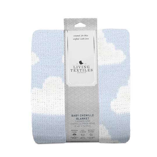 Living Textiles Chenille Baby Blanket - Blue Clouds