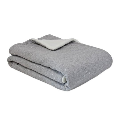 Living Textiles Jersey Blanket with Sherpa - Grey Metallic Stars