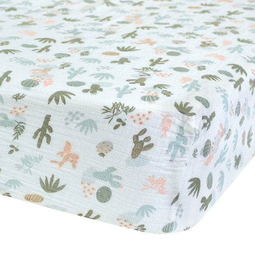 Perlim Pin Pin Crib Fitted Sheet Cotton Muslin Cactus Aqua