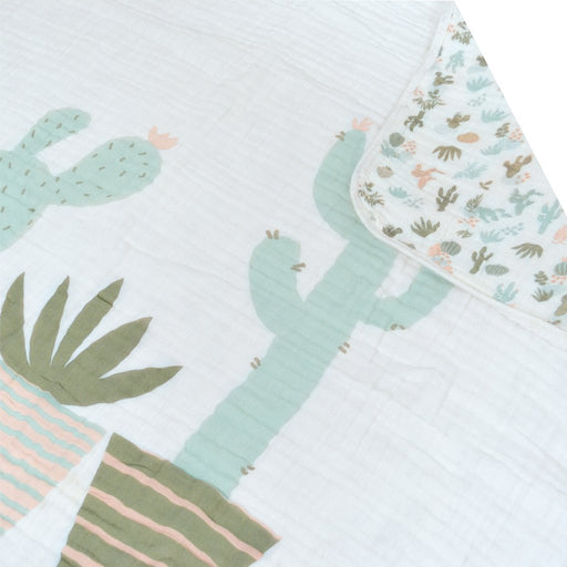 Perlim Cotton Muslin Comforter Panel Cactus Aqua 4Ply MS45