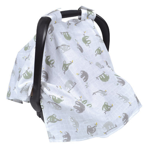 Perlim Pin Pin Cotton Muslin Car Seat Canopy - Sloths MSCSH
