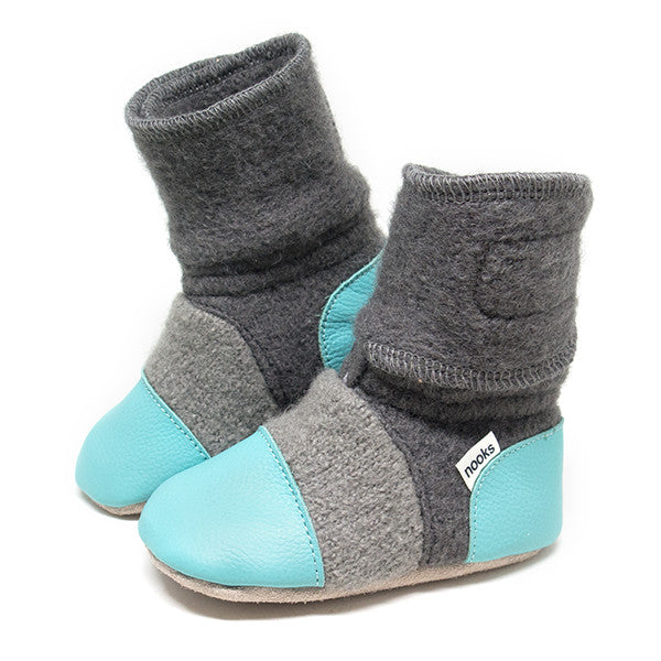 Nooks Felted Wool Booties Lagoon