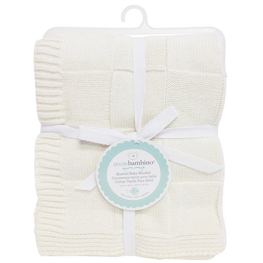 Piccolo Bambino knitted checkered baby blanket white - CanaBee Baby