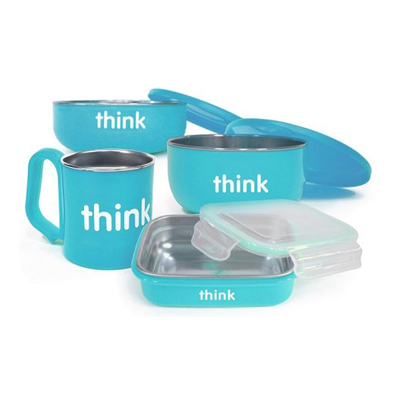 Thinkbaby Stainless Steel Complete Feeding Set - Blue - CanaBee Baby