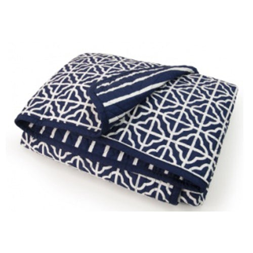 CoCalo Collection Mix & Match Lattice Reversible Coverlet - Connor Navy