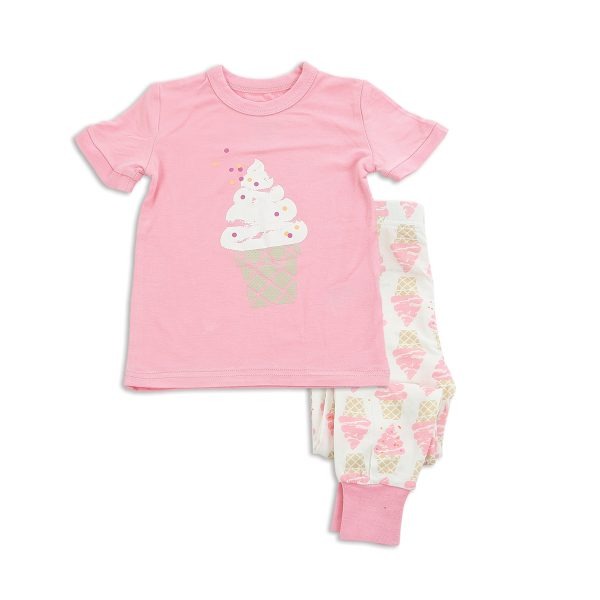 Silkberry Short Sleeve Pajama Set Ice Cream Pink
