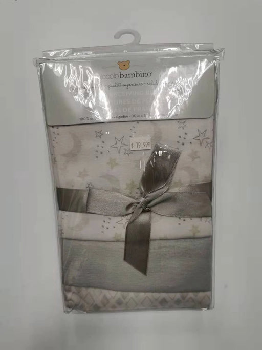 Piccolo Bambino Flannel Receiving Blanket Vinyl Bag Grey 3pk PB1130-1YE