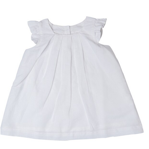 Beba Bean Box Pleat Linen Dress White