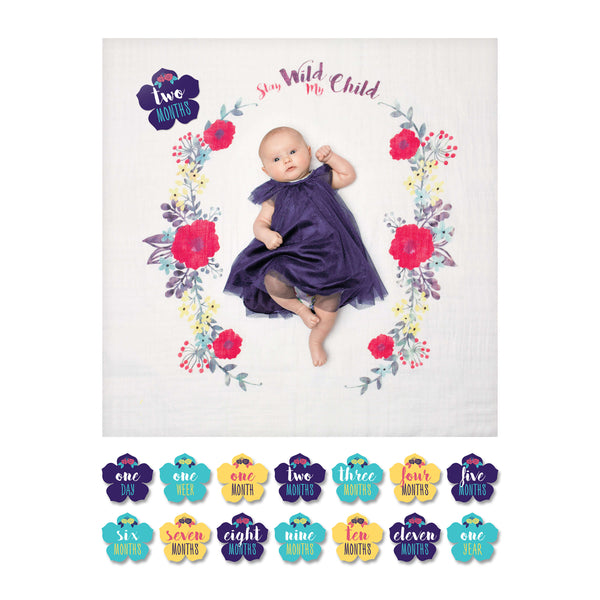 Lulujo Baby's 1st Year Blanket & Cards Set - Stay Wild My Child LJ586