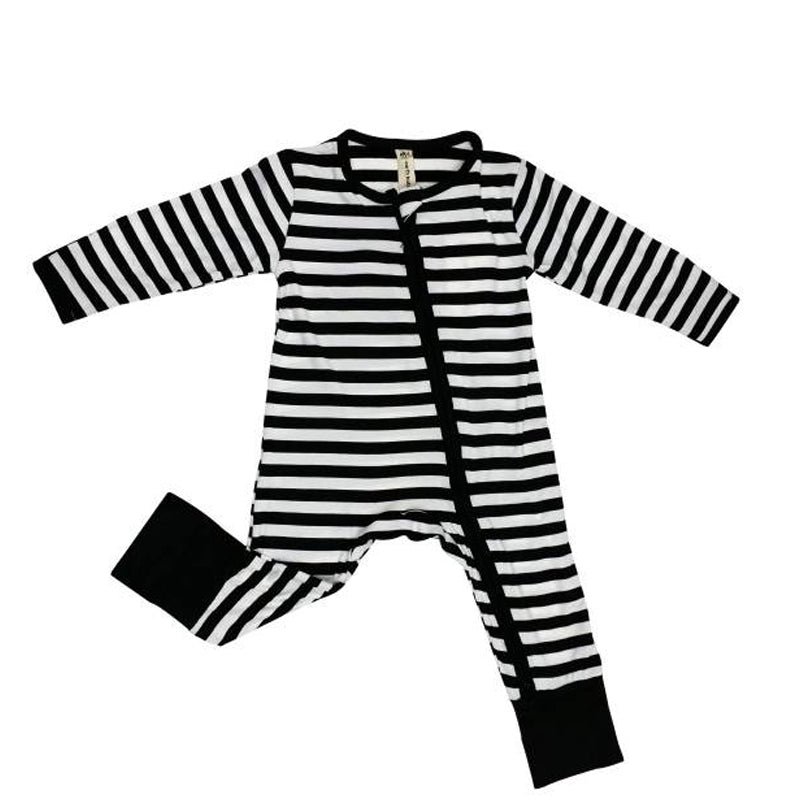 Earth Baby Bamboo 2 Way Zippy Coverall - Grey Stripe - CanaBee Baby