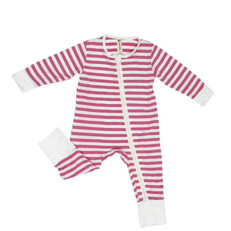 Earth Baby Bamboo 2 Way Zippy Coverall - Pink Stripe - CanaBee Baby