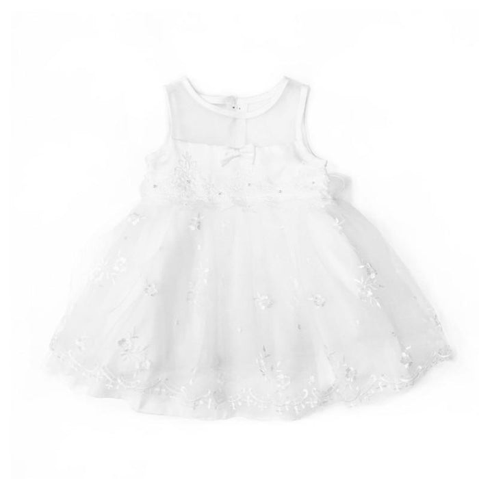 Blink Blank Floral Embroidered Bowie Princess Dress White - CanaBee Baby