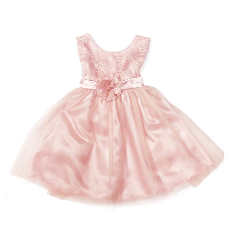 Blink Blank Embroidered Flower Dress Pink - CanaBee Baby