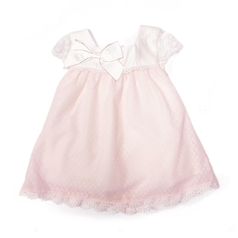 Blink Blank Sweet Bow Little Lace Dress White & Pink - CanaBee Baby