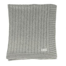 Child To Cherish Cable Knit Blanket Grey