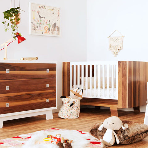 Dutailier Pomelo Bundles Crib & Dresser & Ext Kit in Walnut White