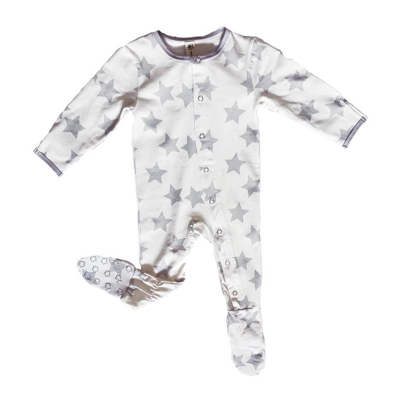 Earth Baby Bamboo Footie - Grey Star - CanaBee Baby
