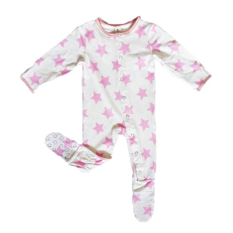 Earth Baby Bamboo Footie - Pink Star