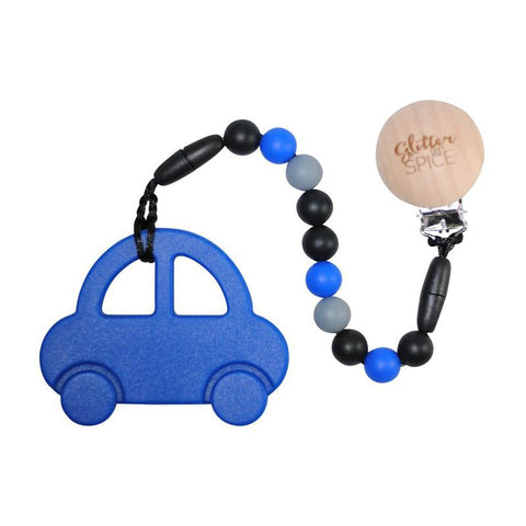 Glitter & Spice Teether - Car Royal Blue - CanaBee Baby
