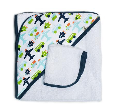 JJ Cole Hooded Towel - White Vroom - CanaBee Baby