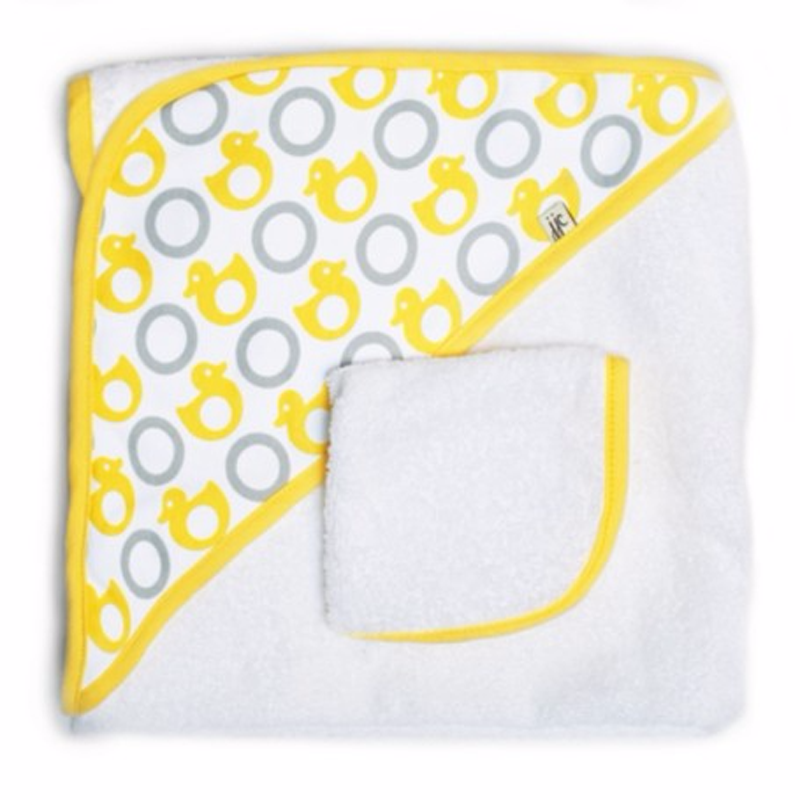JJ Cole Hooded Towel Set - Yellow Ducks - CanaBee Baby