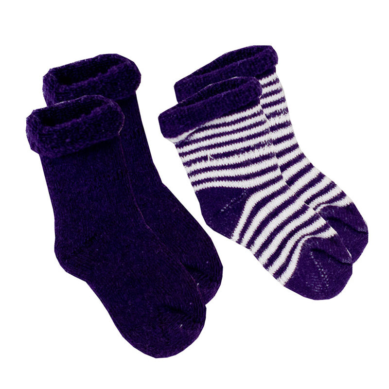 Kushies Baby Socks - Navy Stripe Solid 0-3m - CanaBee Baby