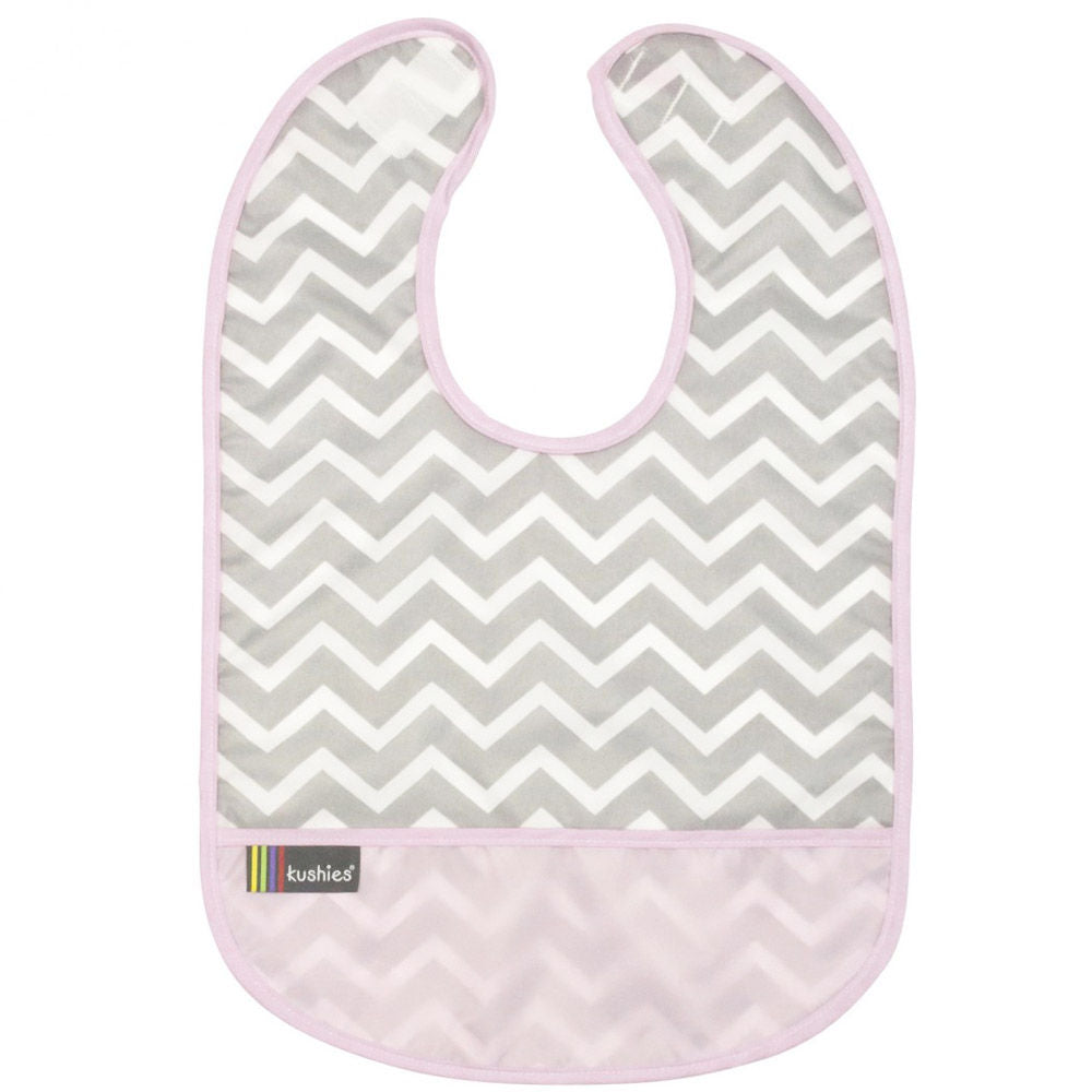 Kushies Clean Bib Chevron Pink 6-12m (B1172 G04)