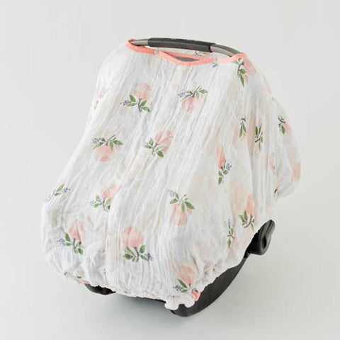 Little Unicorn Cotton Muslin Car Seat Canopy - Watercolor Rose