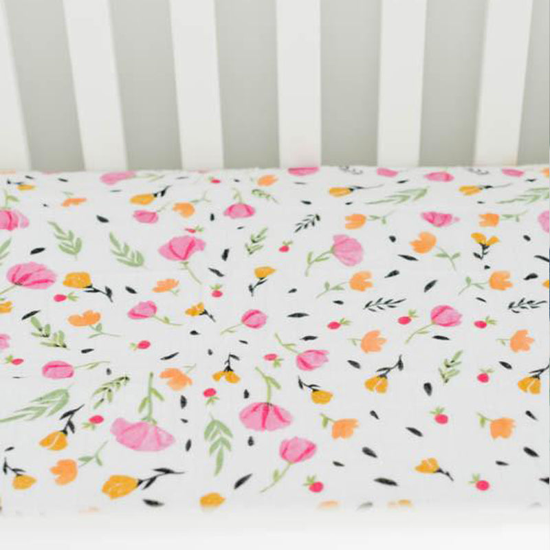 Little Unicorn Cotton Muslin Crib Sheet - Berry&Bloom - CanaBee Baby
