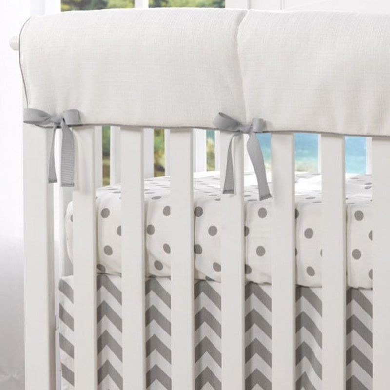 Liz and Roo Crib Rail Cover(Made in USA) - White Wovem (Gray Trim)