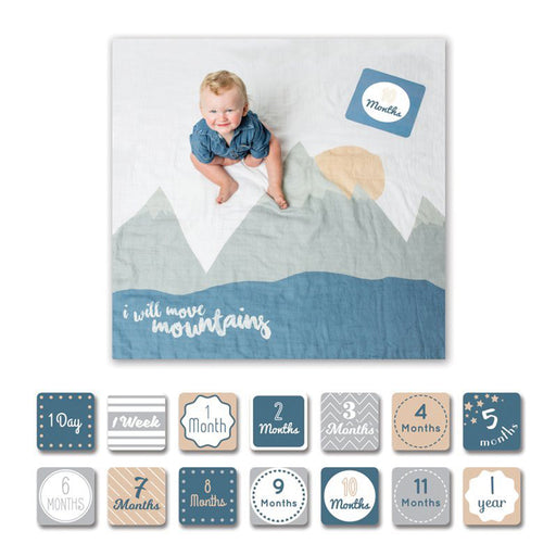 Lulujo Baby's 1st Year Blanket & Cards Set - I Will Move Mountains - CanaBee Baby