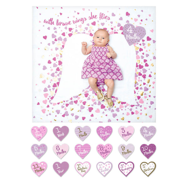 Lulujo Baby's 1st Year Blanket& Cards Set - With Brave Wings