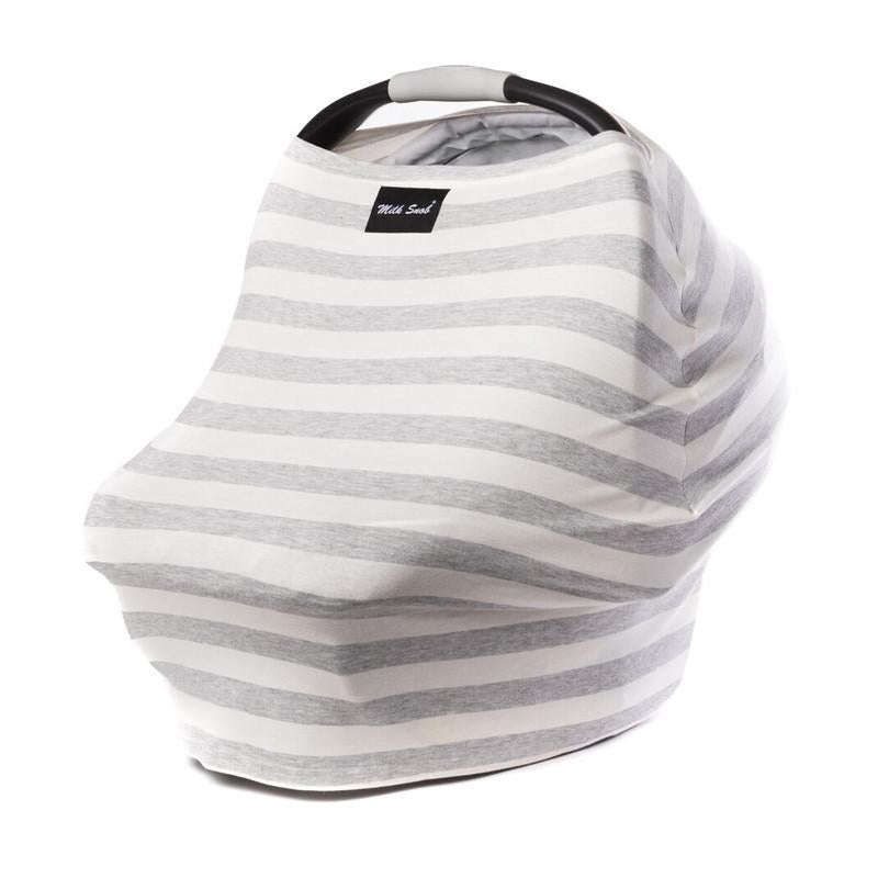 Milk Snob Cover - Cream & Grey Stripes - CanaBee Baby