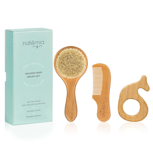 Natemia Wooden Baby Hair Brush and Comb Set
