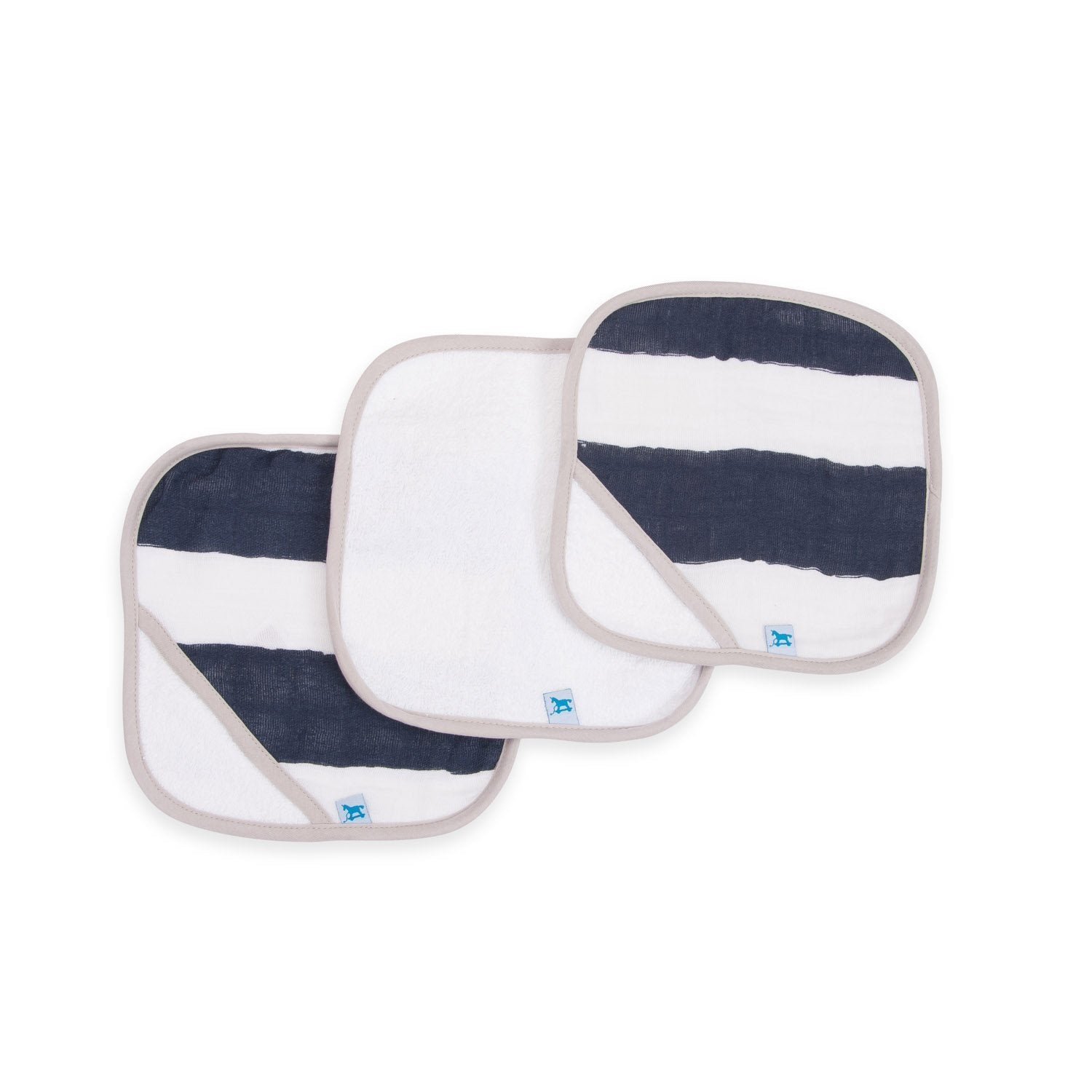 Little Unicorn Wash Cloth 3 Pack - Navy Strip