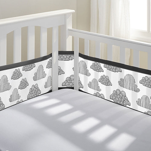 Breathable Baby Printed Liner In the Clouds Black and White 12417