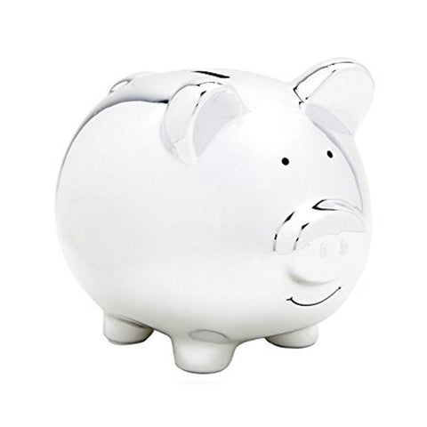 Pear Head Ceramic Piggy Bank - Silver