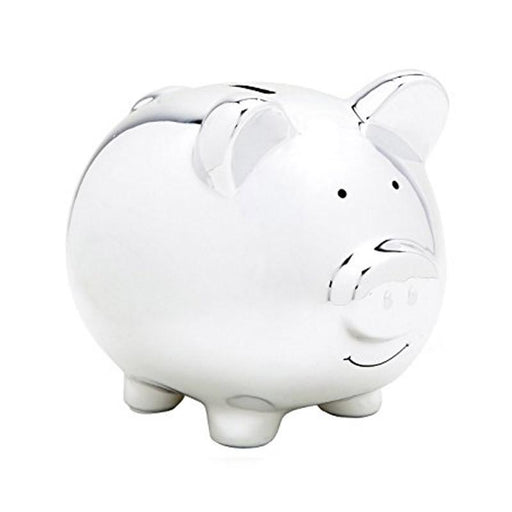Pear Head Ceramic Piggy Bank - Silver - CanaBee Baby