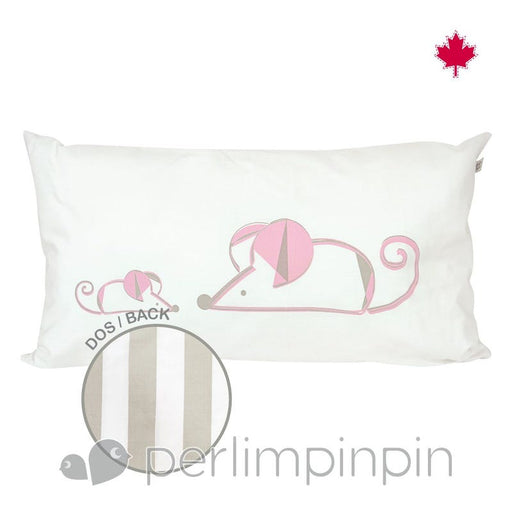 Perlim Pin Pin Small Rectangle Cushion Mouse Taupe Stripe (L0217)