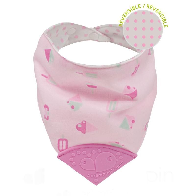 Perlim Pin Pin Bubbly Cotton Teething Bib - Ice Cream - CanaBee Baby